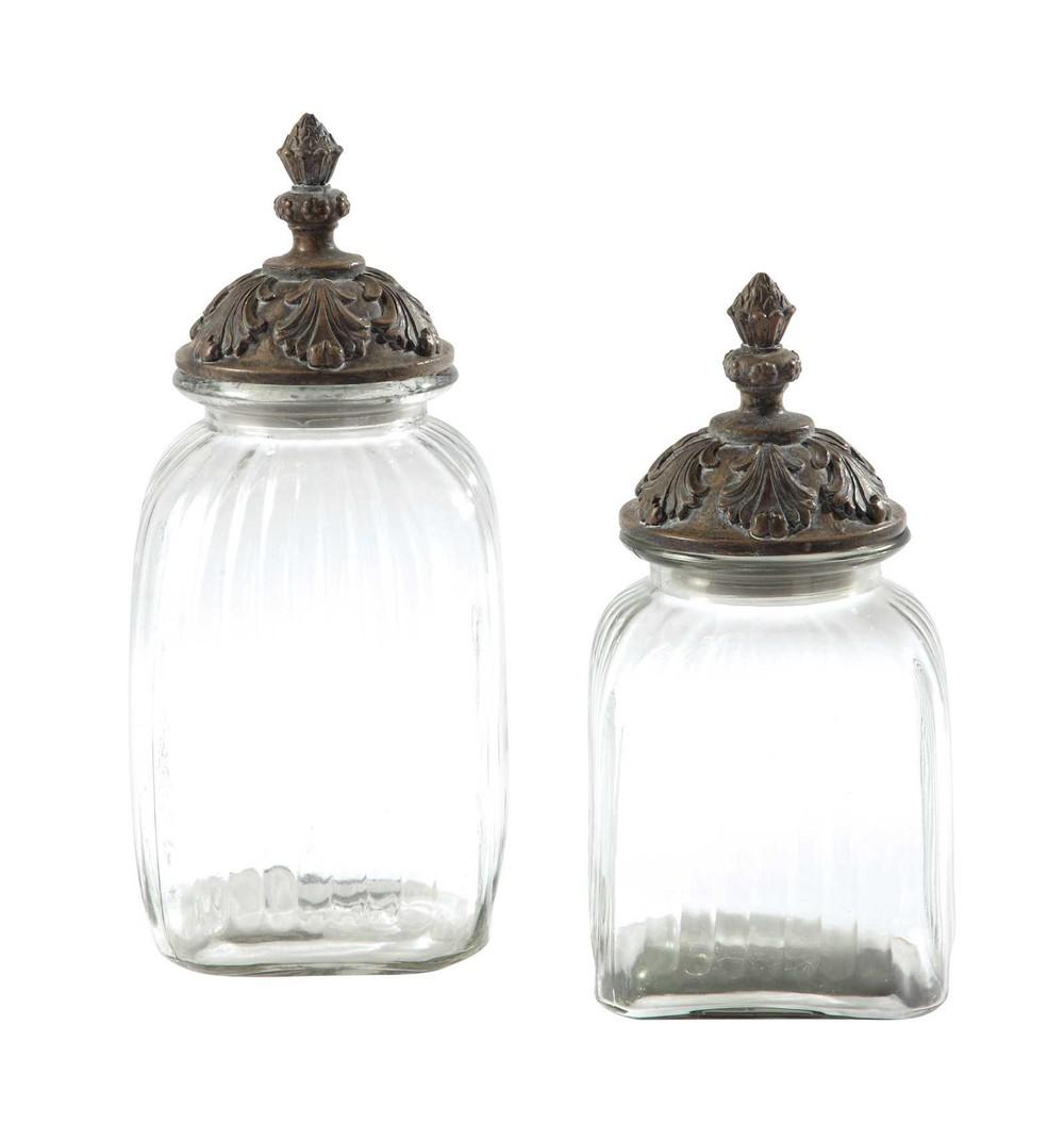 2 pots en verre et r sine h 32 cm et h 38 cm abelia for Pot en verre deco
