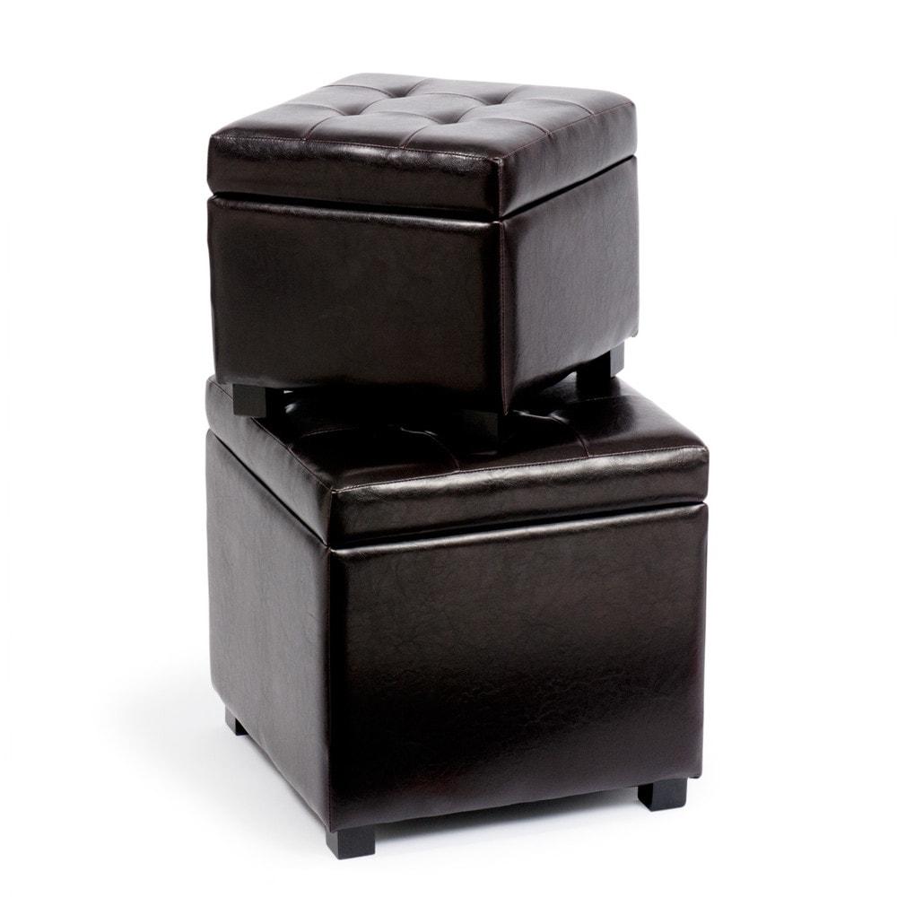 2 poufs coffres marron twiny maisons du monde. Black Bedroom Furniture Sets. Home Design Ideas