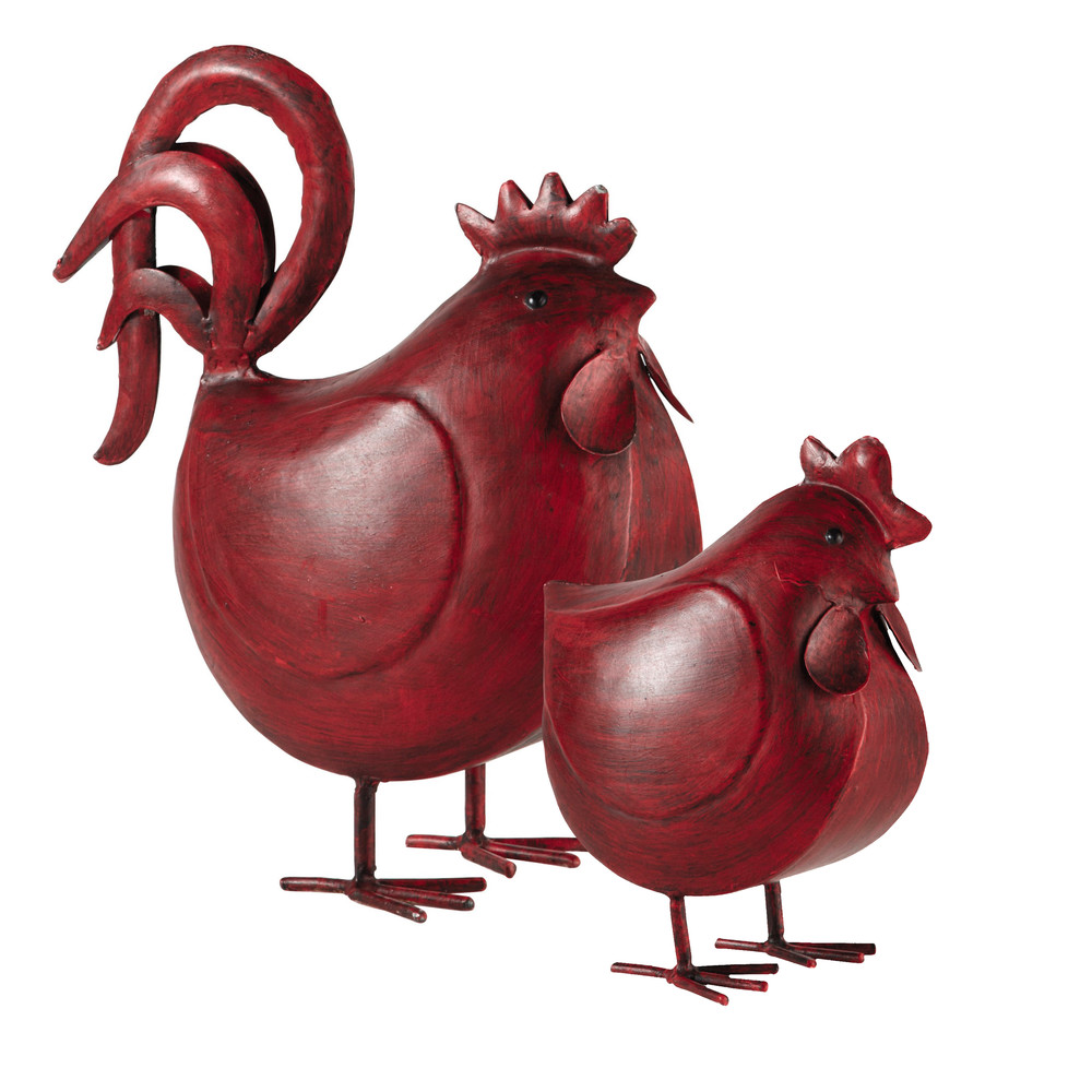 2 poules en m tal rouge h 38 cm raoul maisons du monde. Black Bedroom Furniture Sets. Home Design Ideas