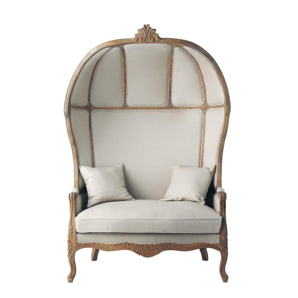 2 seat linen daybed carrosse carrosse maisons du monde. Black Bedroom Furniture Sets. Home Design Ideas