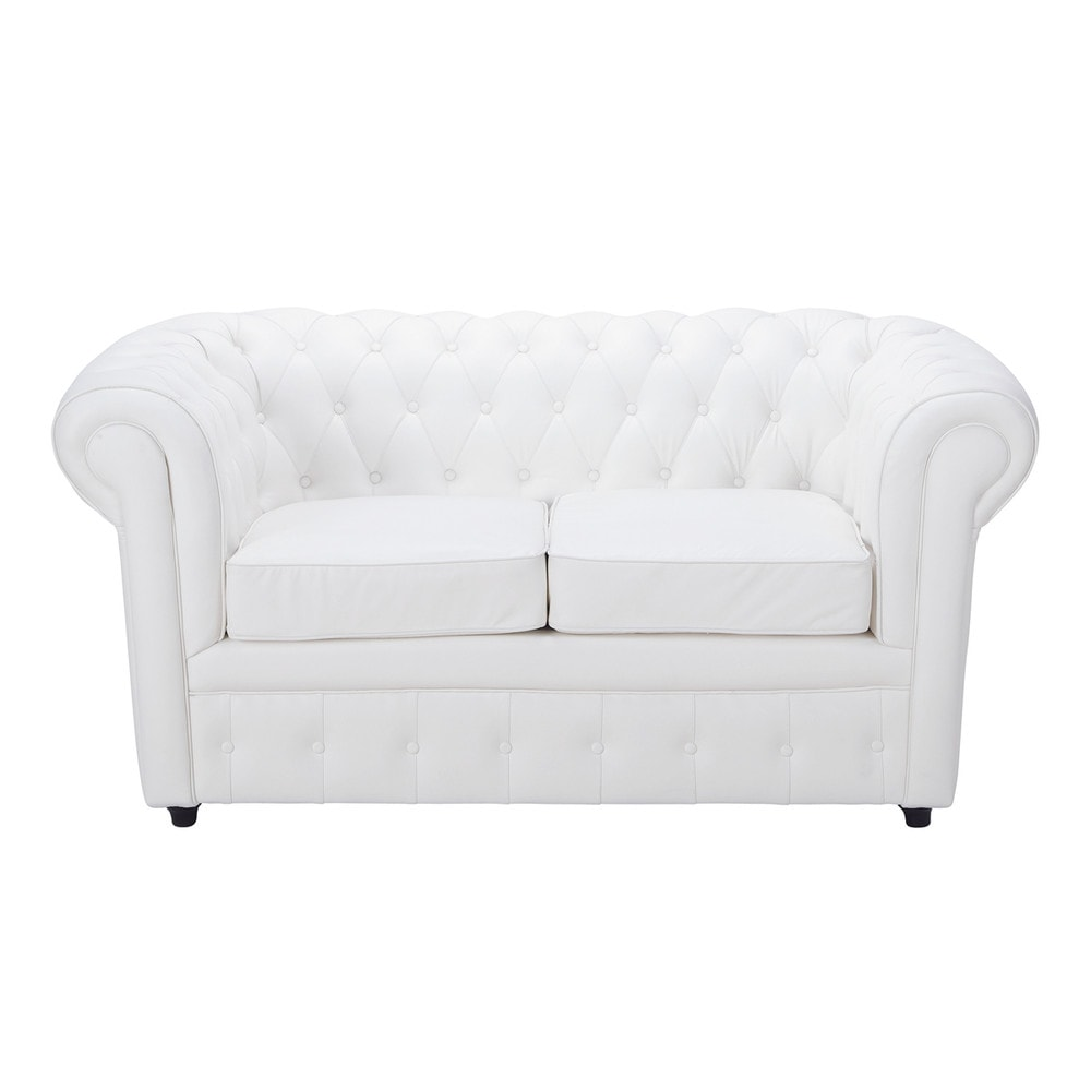 2 seater button sofa in white chesterfield maisons du monde. Black Bedroom Furniture Sets. Home Design Ideas
