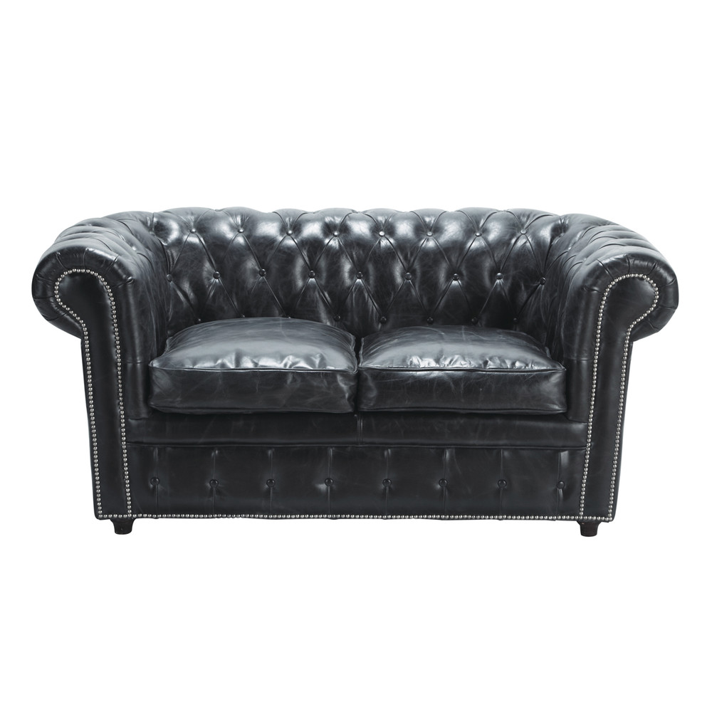 2 Seater Chesterfield Leather Button Sofa In Black Vintage
