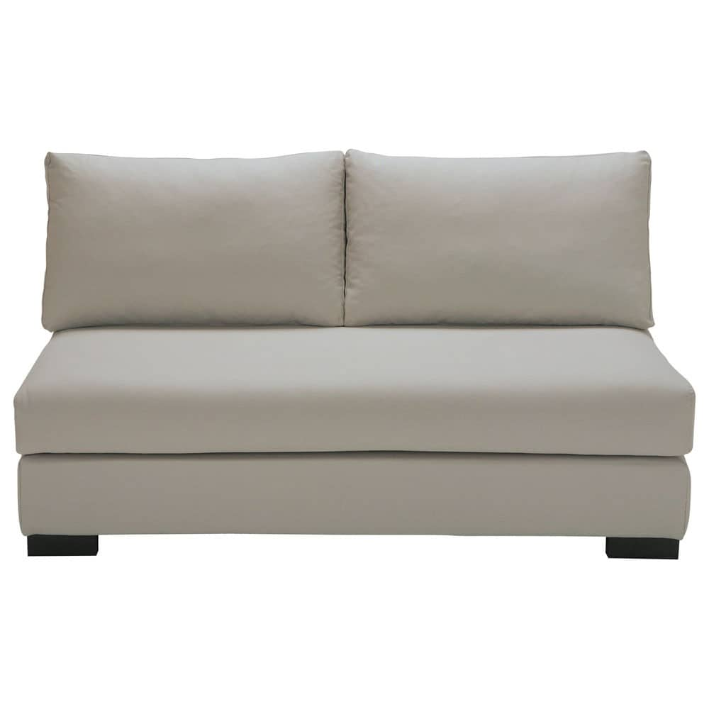 2 Seater Cotton Armless Modular Sofa In Light Grey Terence