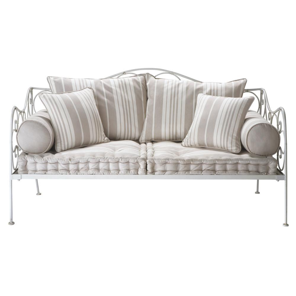 2 seater cotton stripe day bed justine maisons du monde. Black Bedroom Furniture Sets. Home Design Ideas