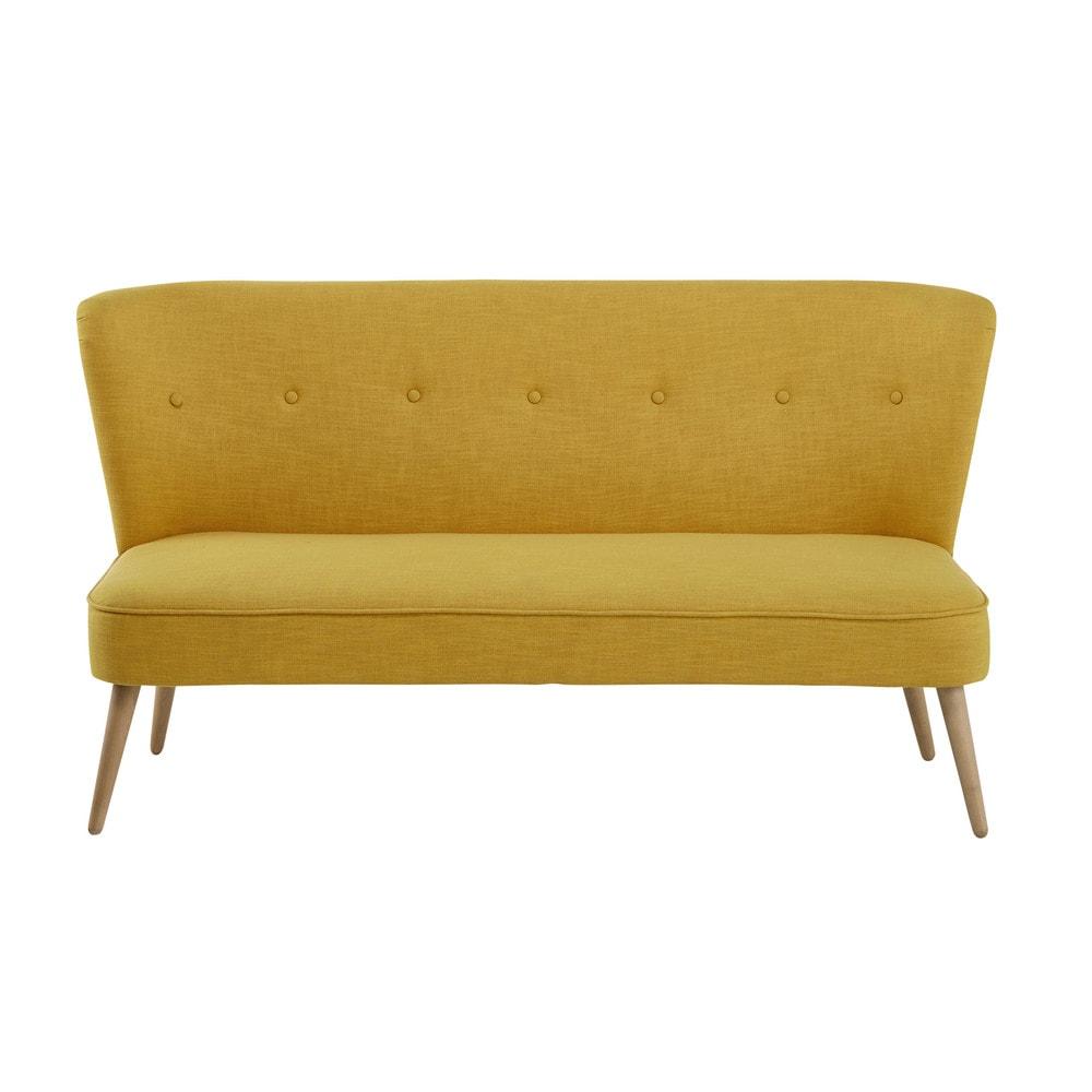 2 seater fabric banquette in yellow cliff maisons du monde - Banquette maison du monde occasion ...