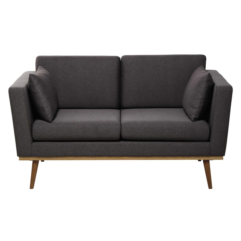 2 seater fabric sofa in grey Timeo