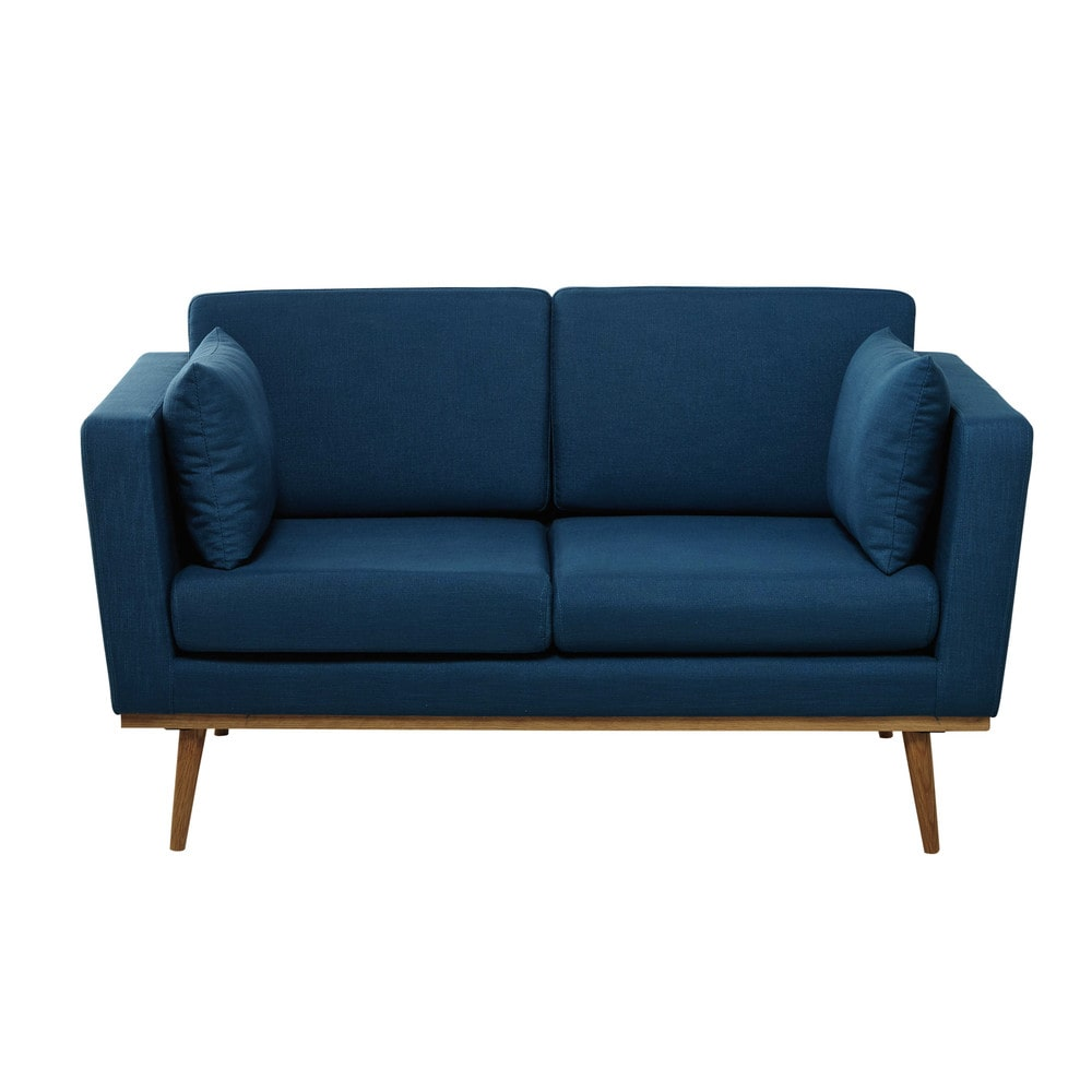 2 seater fabric sofa in petrol blue timeo maisons du monde. Black Bedroom Furniture Sets. Home Design Ideas