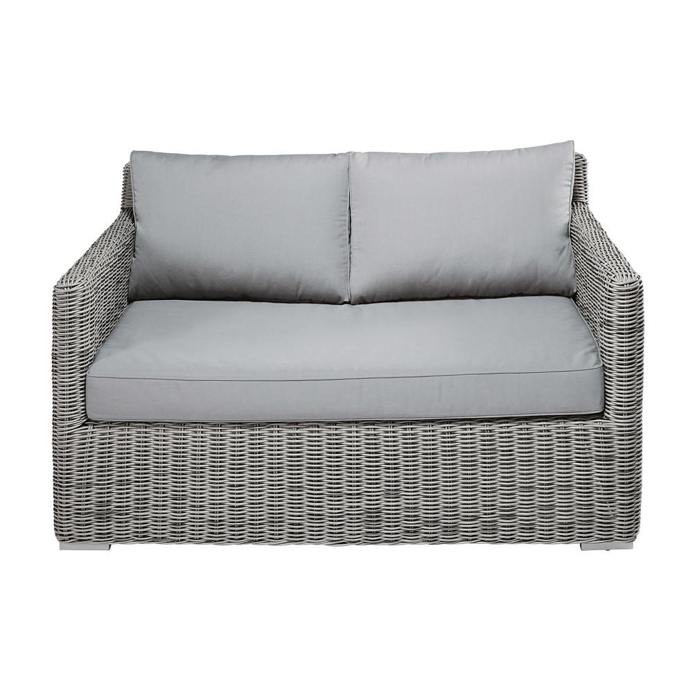2 seater garden sofa in grey resin wicker cape town maisons du monde. Black Bedroom Furniture Sets. Home Design Ideas