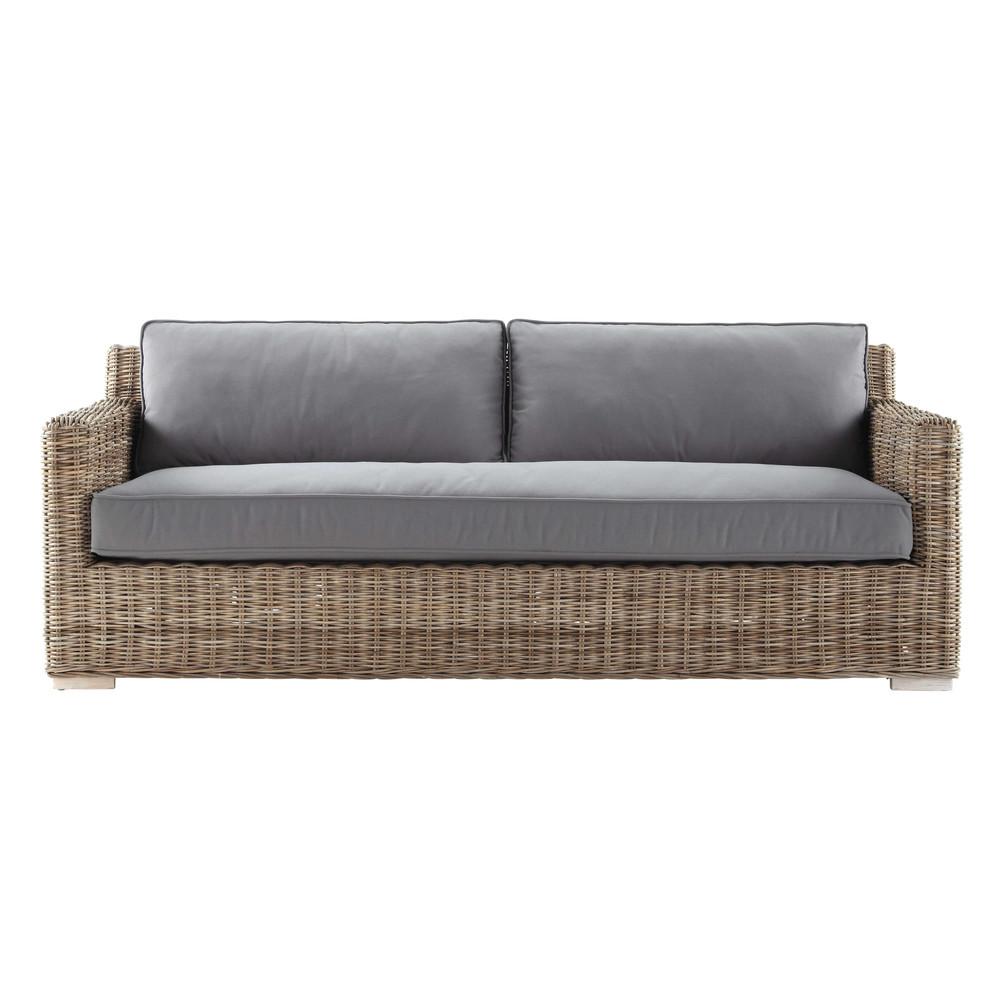 2 seater kubu rattan sofa in charcoal grey kerguelen maisons du monde. Black Bedroom Furniture Sets. Home Design Ideas