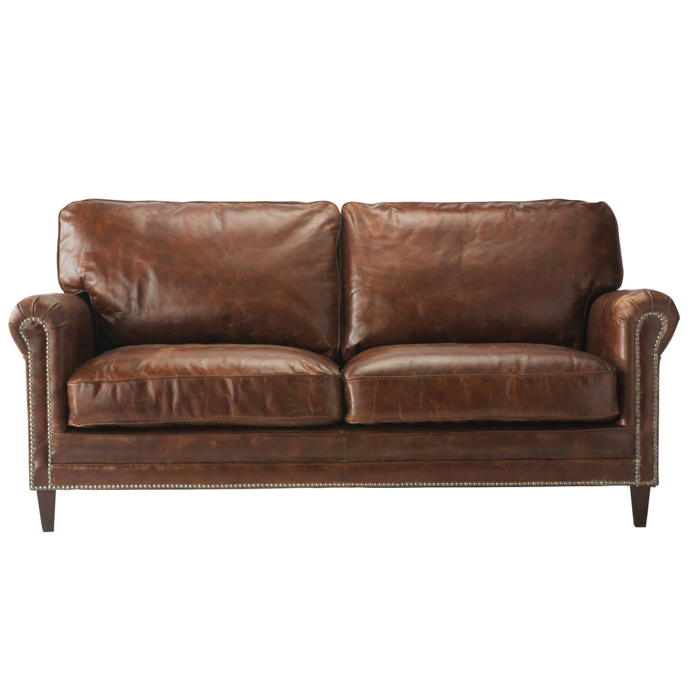 2 seater leather sofa in brown sinatra maisons du monde for 2 seater sofa