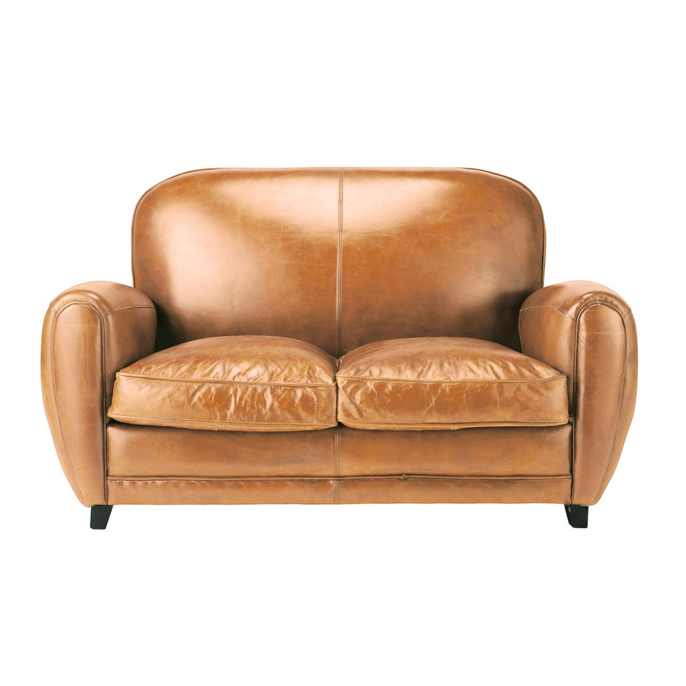 2 Seater Leather Vintage Sofa In Brandy Colour Oxford Maisons Du Monde