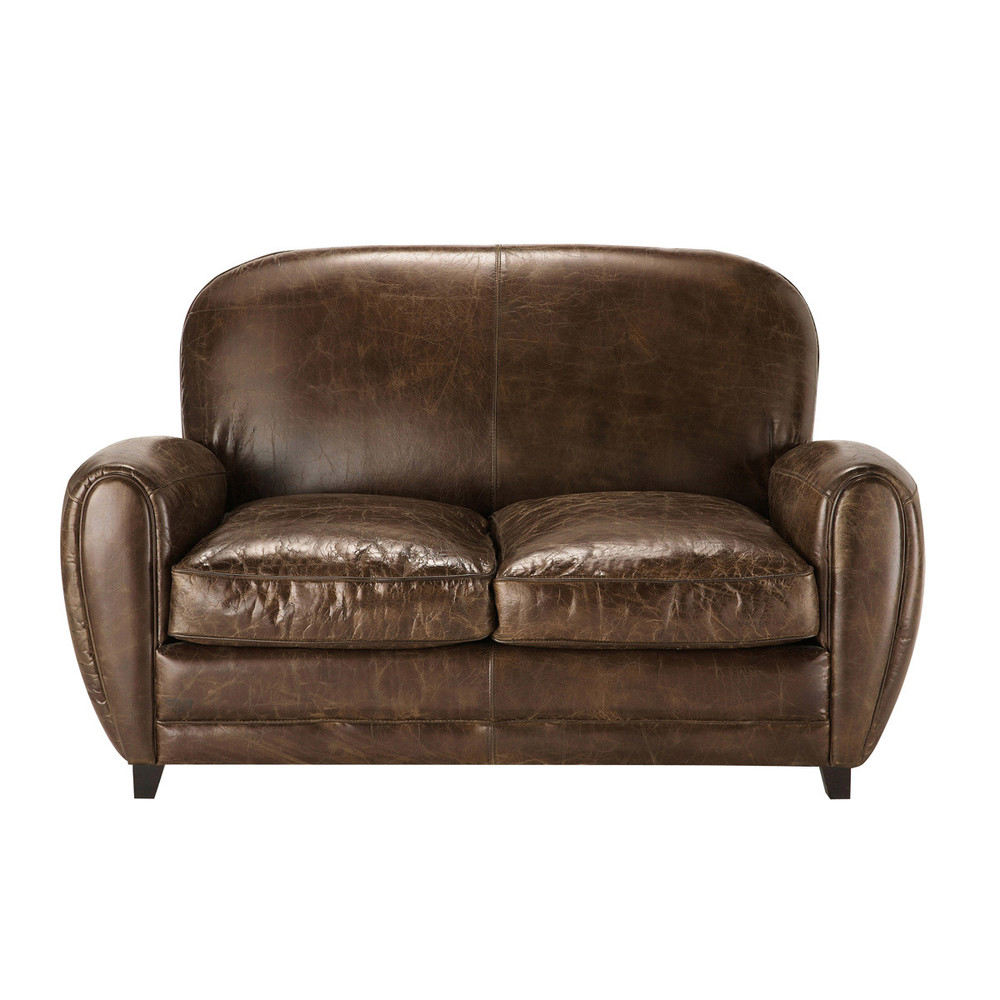 2 seater leather vintage sofa in brown Oxford