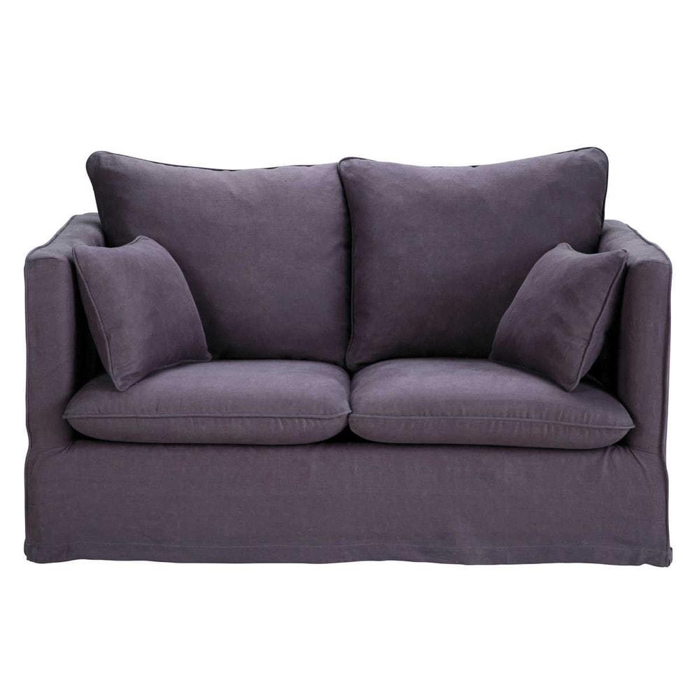 2 Seater Linen Sofa In Dark Purple Timothée