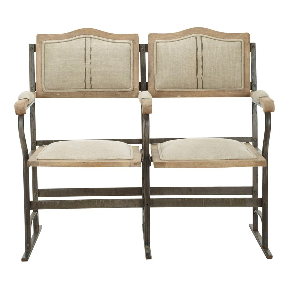 2 Seater Metal And Linen Fold Up Bench Seat Chaplin