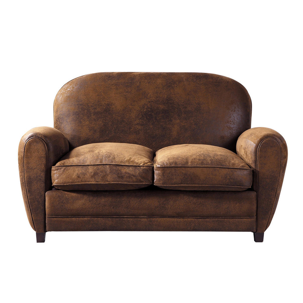2 seater microsuede sofa in brown arizona maisons du monde for Maison de monde uk