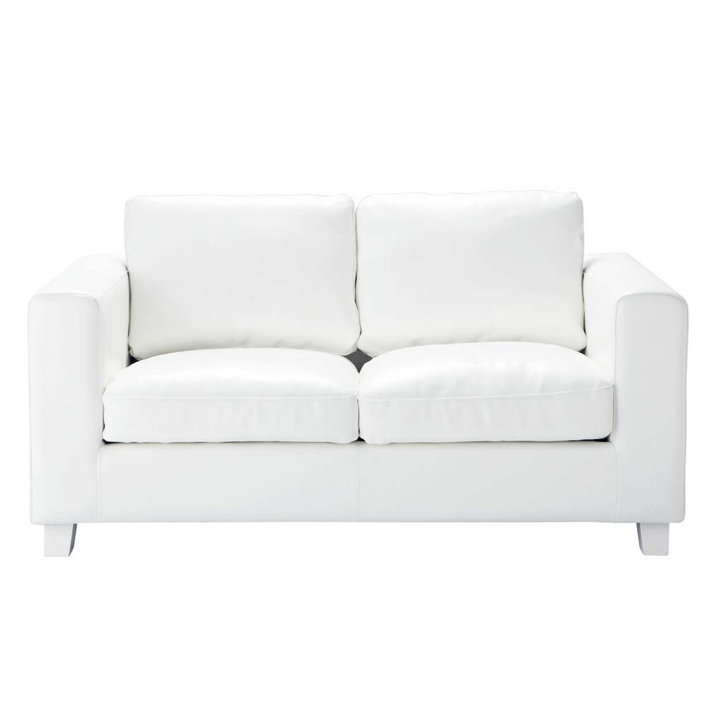 2 Seater Split Leather Sofa In Ivory