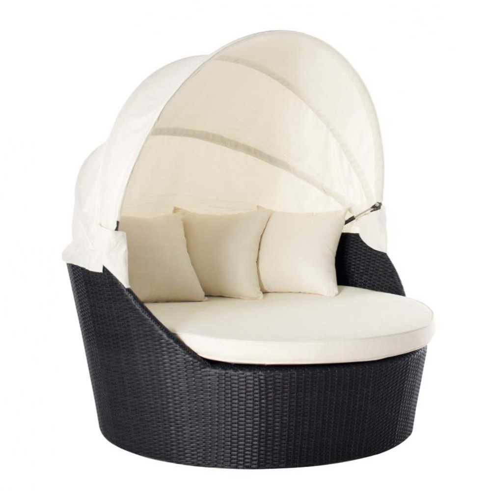 2 seater wicker garden sofa in black antibes maisons du monde. Black Bedroom Furniture Sets. Home Design Ideas