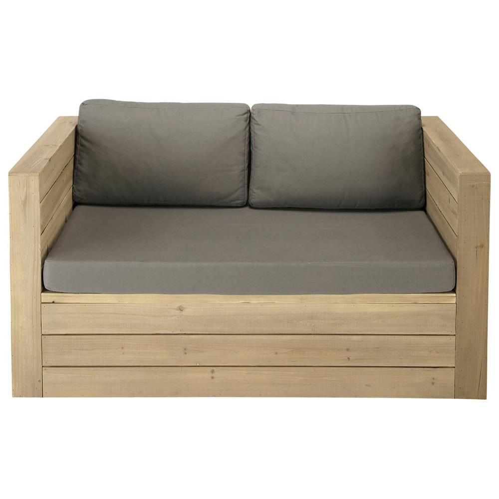 2 seater wooden garden bench seat br hat maisons du monde - Maderas para jardin ...