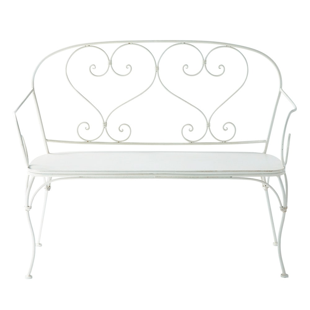 2 Seater Wrought Iron Garden Bench Seat In Ivory St