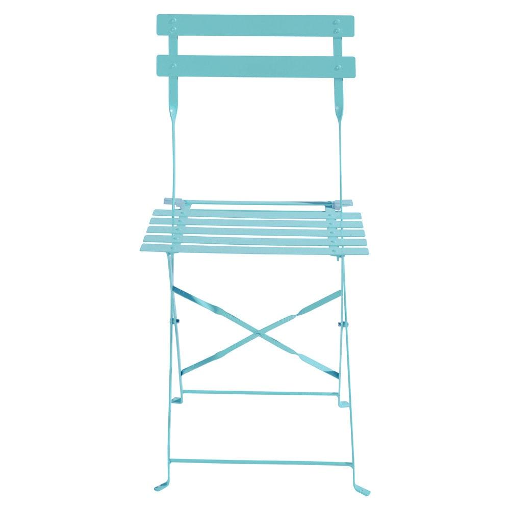 2 sedie pieghevoli turchesi da giardino in metallo