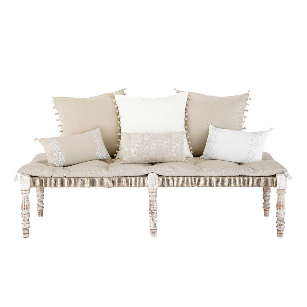 2 sitzer bank im ethno stil aus stoff beige casablanca. Black Bedroom Furniture Sets. Home Design Ideas