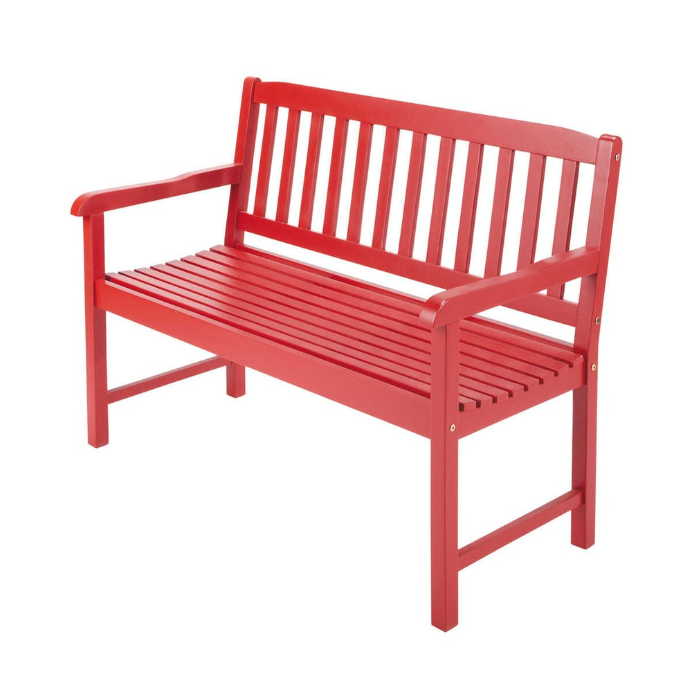 2 sitzer gartenbank aus akazienholz b 120 cm rot coquelicot maisons du monde. Black Bedroom Furniture Sets. Home Design Ideas
