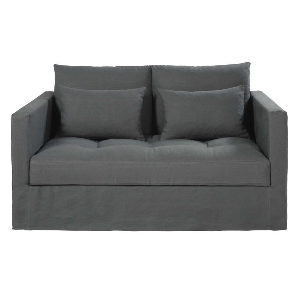 2 sitzer sofa mit bezug aus anthrazitfarbenem gewaschenem. Black Bedroom Furniture Sets. Home Design Ideas