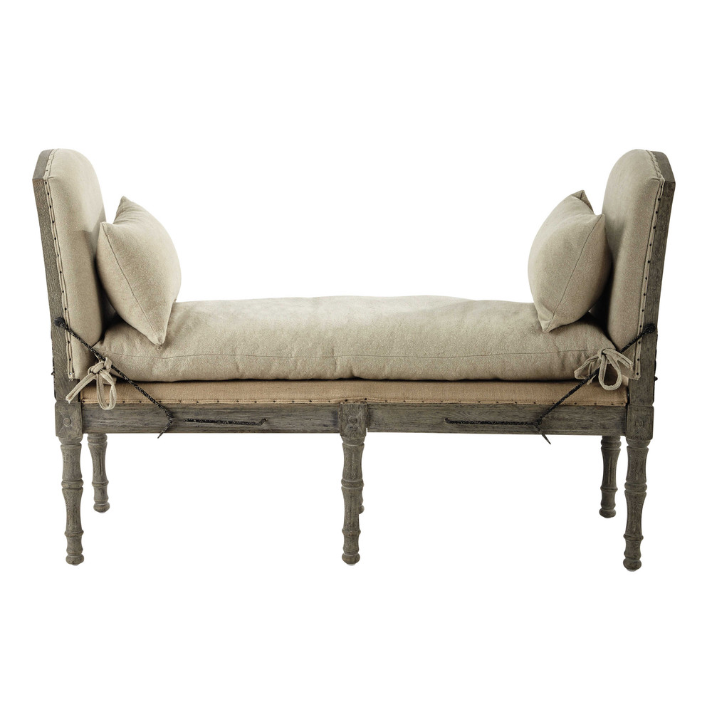 2 sitzige polsterbank aus leinen beige amboise maisons du monde. Black Bedroom Furniture Sets. Home Design Ideas
