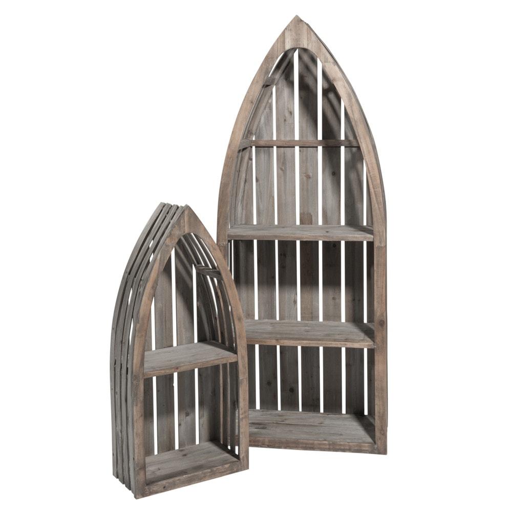 2 st malo wooden boat shaped shelves w 41cm and w 60cm. Black Bedroom Furniture Sets. Home Design Ideas