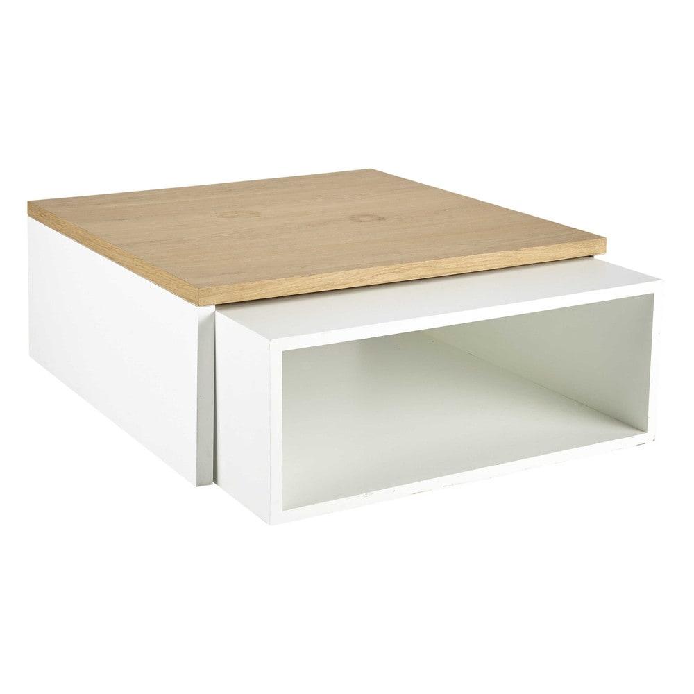 2 tables basses en bois blanches l 100 cm et l 94 cm - Table basse blanche en bois ...