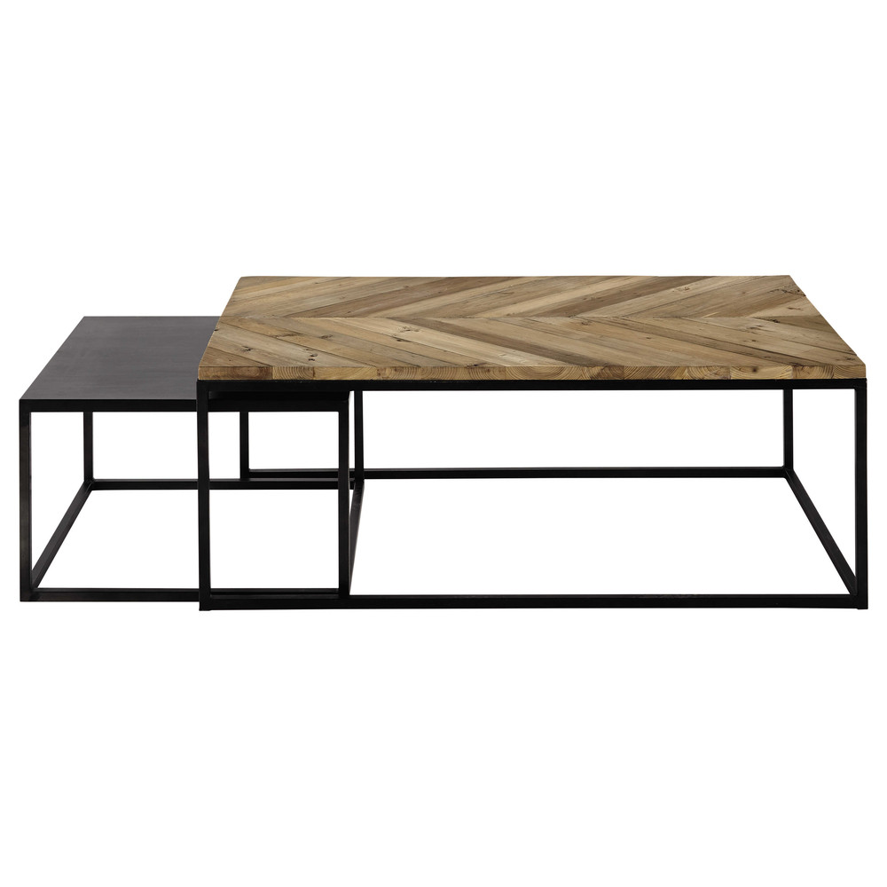 2 tables basses gigognes en bois recycl et m tal l 60 cm for Maison du monde chemin de table