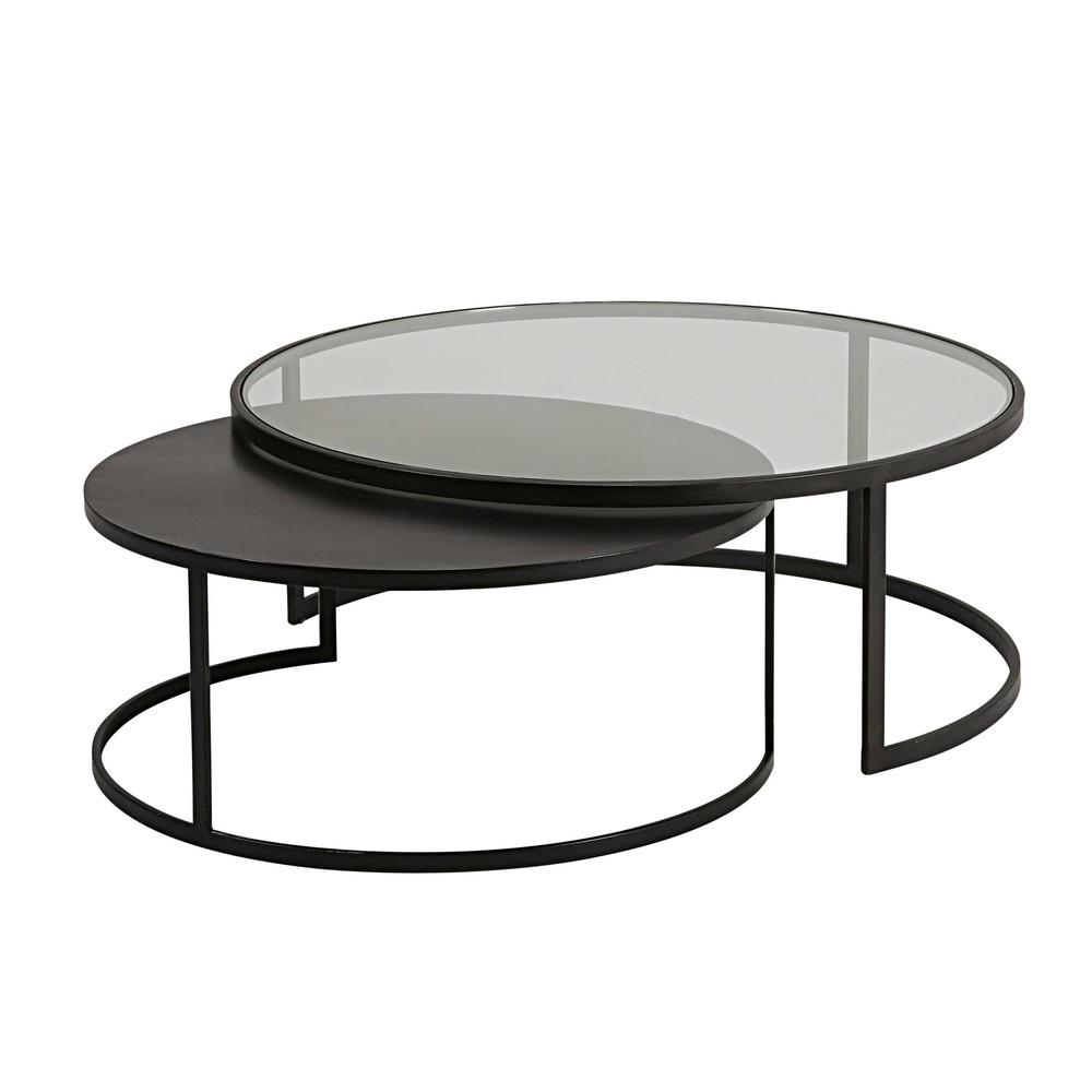 2 tables basses gigognes en verre tremp et m tal noir for Table basse design verre et metal
