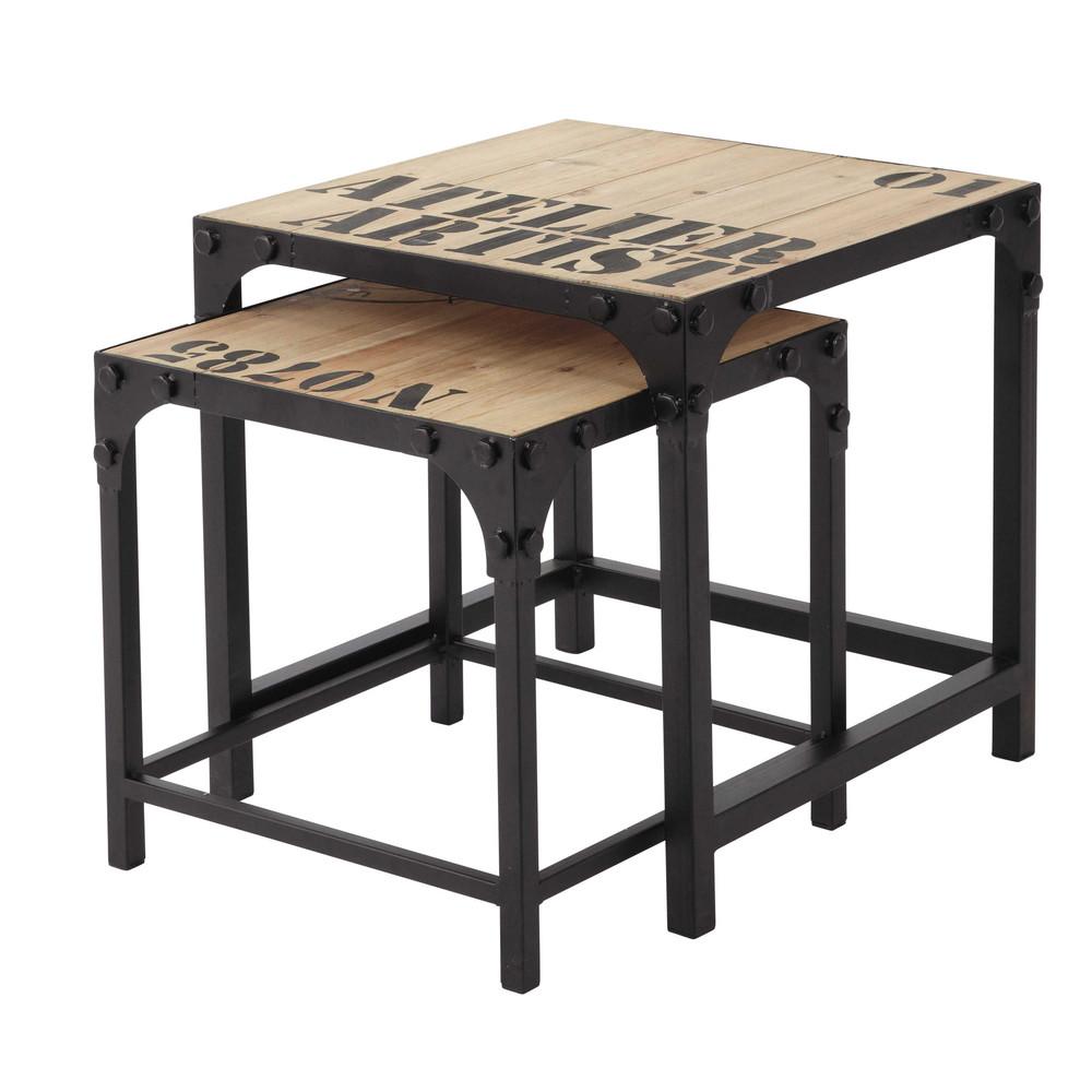 2 tables basses indus en bois et m tal l 45 cm docks maisons du monde - Tables basses carrees ...