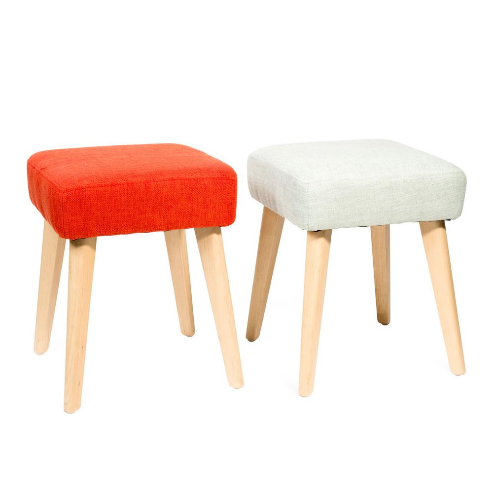 2 tabourets en bois et tissu vert orange molly vintage maisons du monde. Black Bedroom Furniture Sets. Home Design Ideas