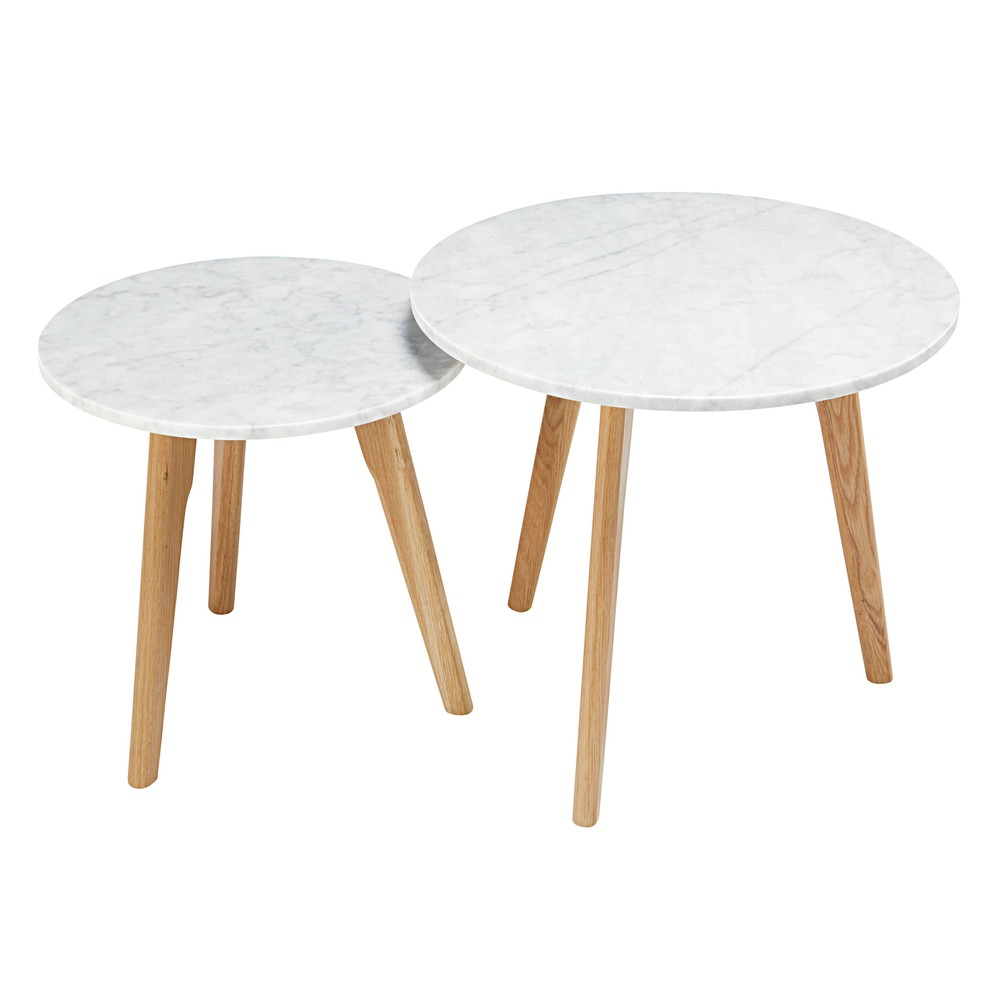 2 tavoli bassi estraibili in marmo e quercia twins - Gueridon maison du monde ...