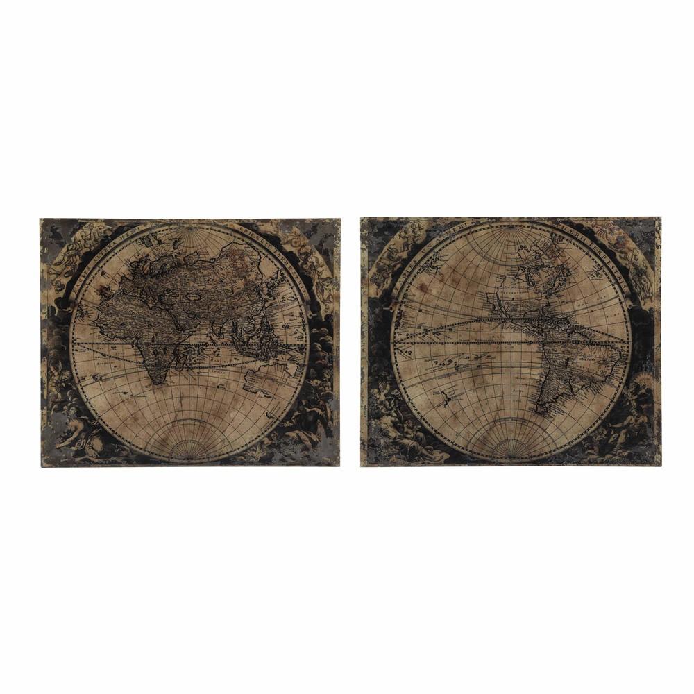 2 toiles en bois 120 x 100 cm planispheres maisons du monde. Black Bedroom Furniture Sets. Home Design Ideas