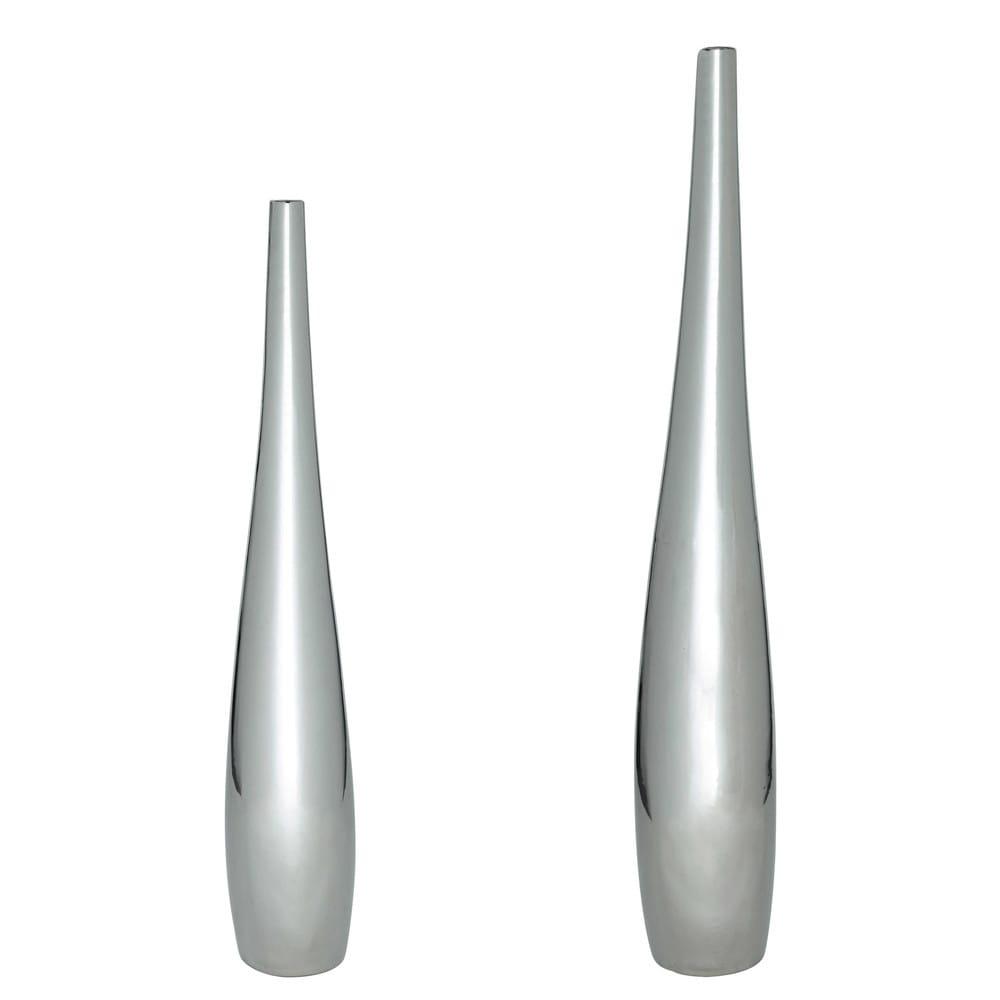 2 vases en c ramique argent h 83 cm et h 115 cm marley - Vase argente maison du monde ...