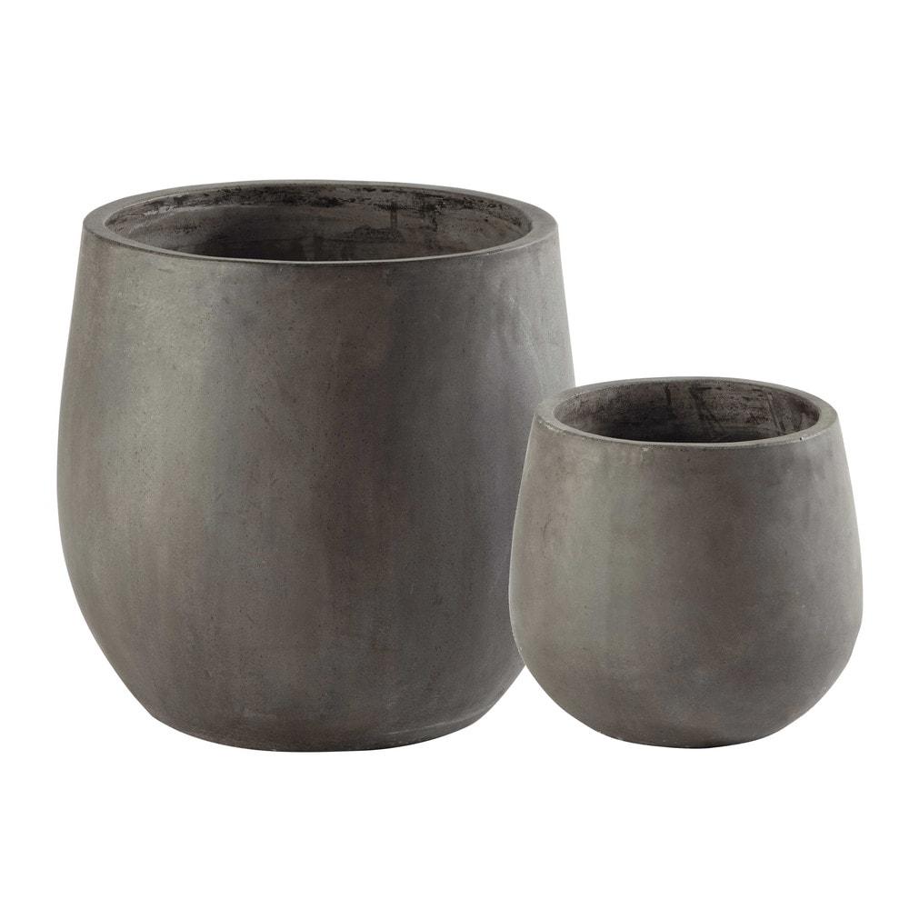 2 vasi da giardino in resina grigia h 50 cm montbeliard - Resina da esterno ...