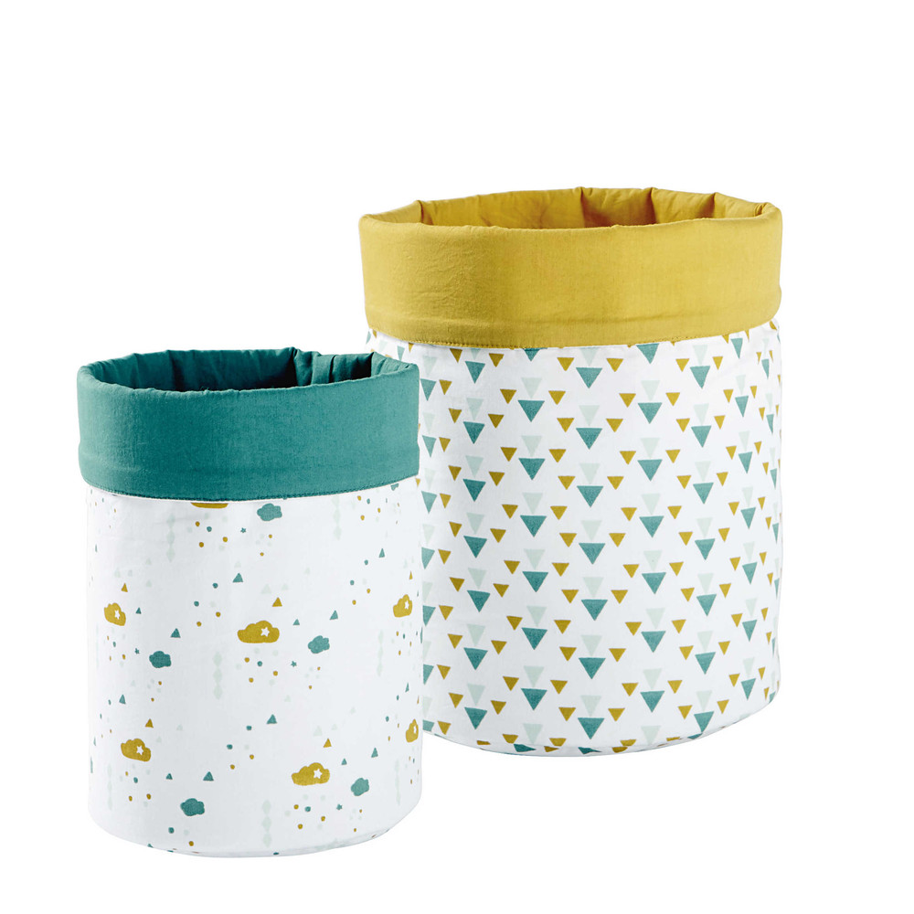 2 vide poches en coton jaune vert h 25 et h 30 cm gaston. Black Bedroom Furniture Sets. Home Design Ideas