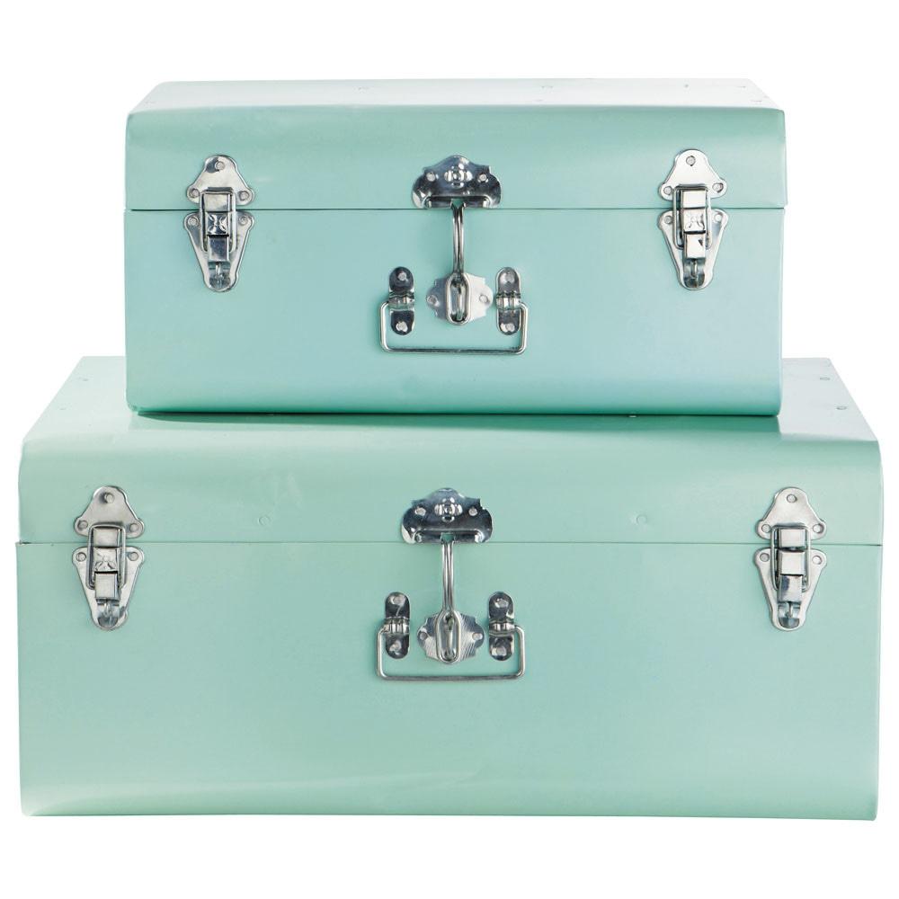 2er set koffer blau maisons du monde for Boite de rangement bebe garcon