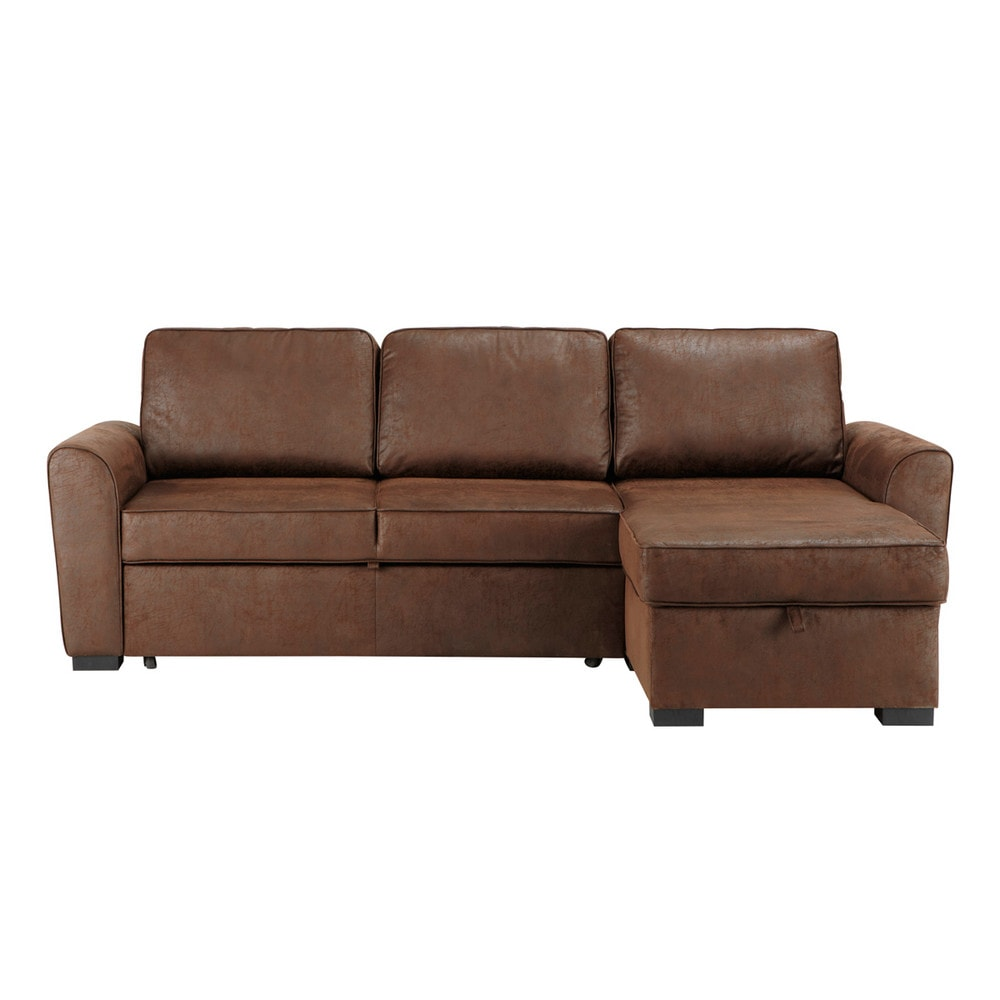 3 4 seater brown microsuede corner sofa bed montr al maisons du monde. Black Bedroom Furniture Sets. Home Design Ideas