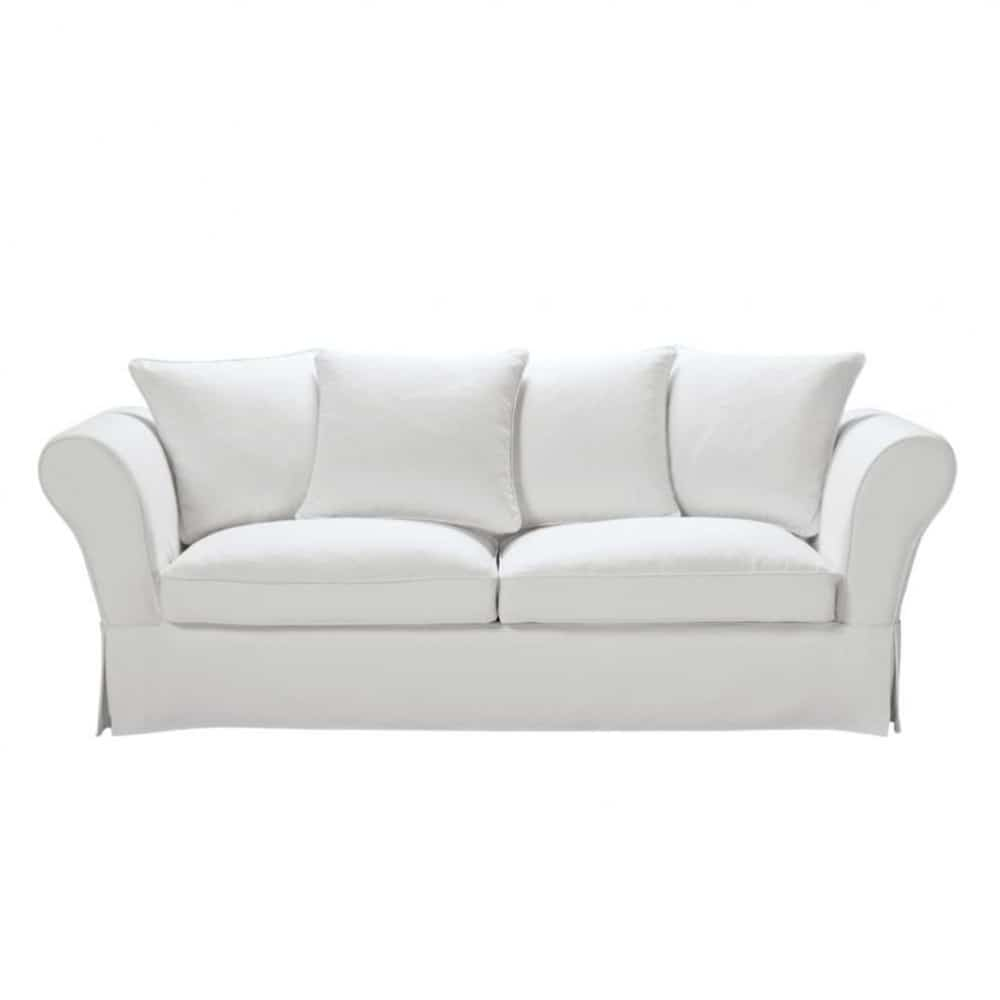 3 4 seater cotton sofa bed in ivory roma maisons du monde - Canape tissu maison du monde ...
