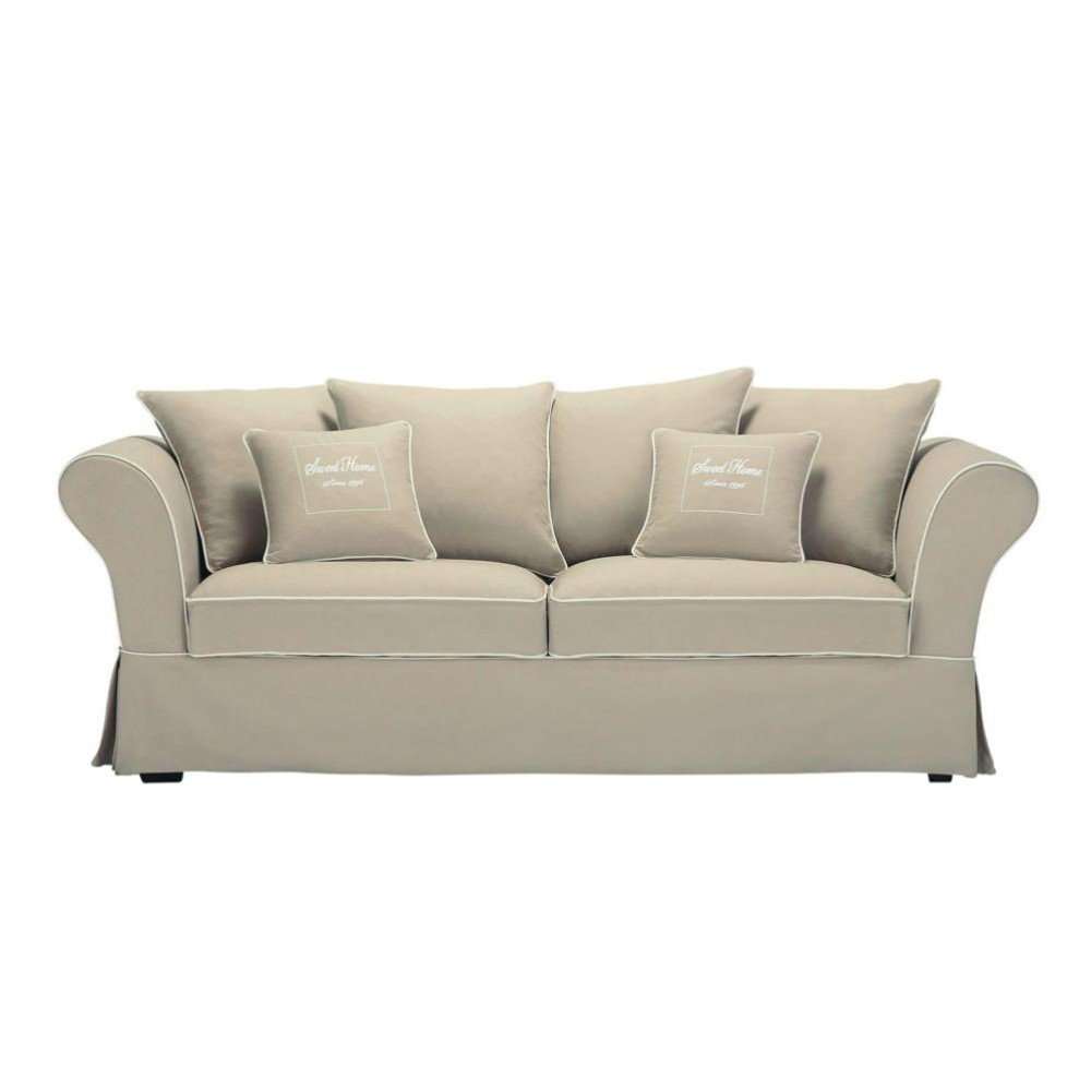 3 4 seater cotton sofa in beige sweet home maisons du monde