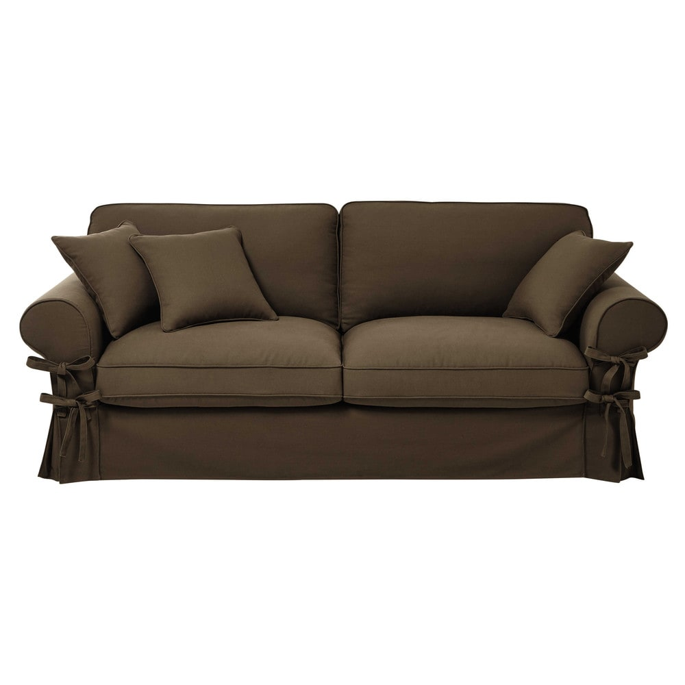 3 4 seater cotton sofa in taupe butterfly maisons du monde. Black Bedroom Furniture Sets. Home Design Ideas