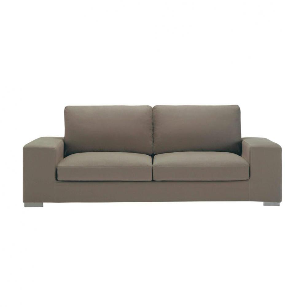3 4 seater cotton sofa in taupe new york maisons du monde. Black Bedroom Furniture Sets. Home Design Ideas