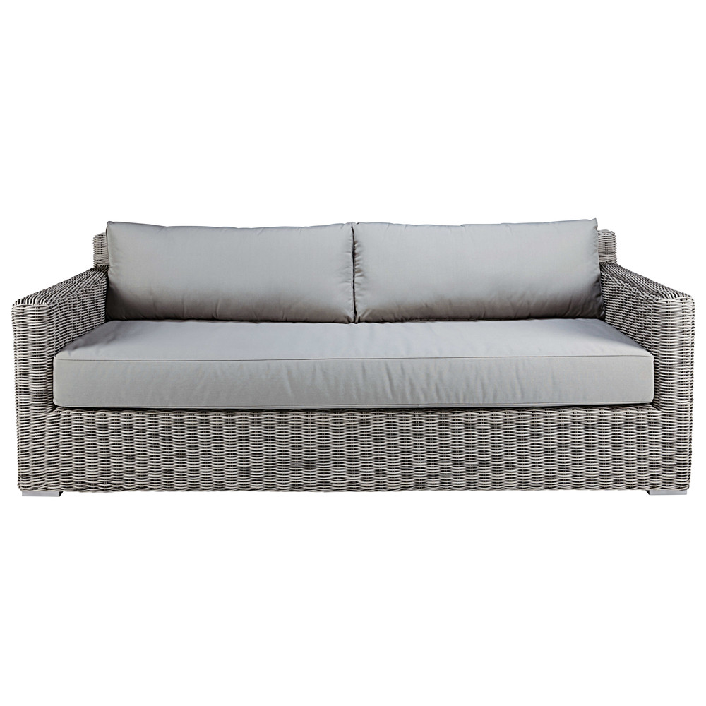 3 4 Seater Garden Sofa In Grey Resin Wicker Cape Town