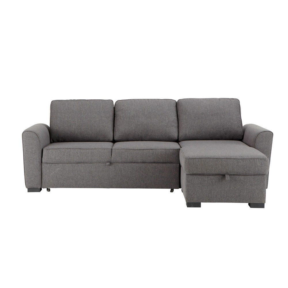 3 4 seater grey fabric corner sofa bed montr al maisons for Grey divan bed
