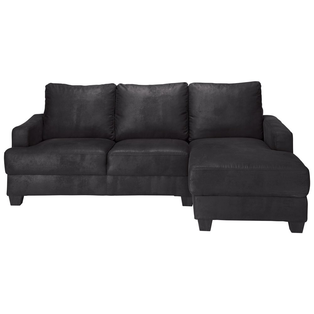 3 4 seater imitation suede rhf corner sofa in black. Black Bedroom Furniture Sets. Home Design Ideas