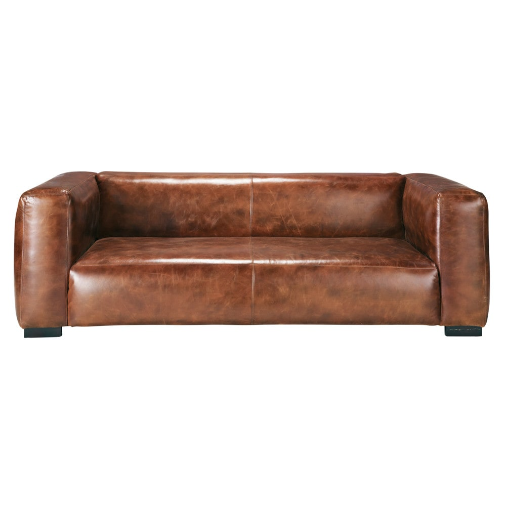 3 4 seater leather sofa in brown john maisons du monde - Maison du monde sofa ...