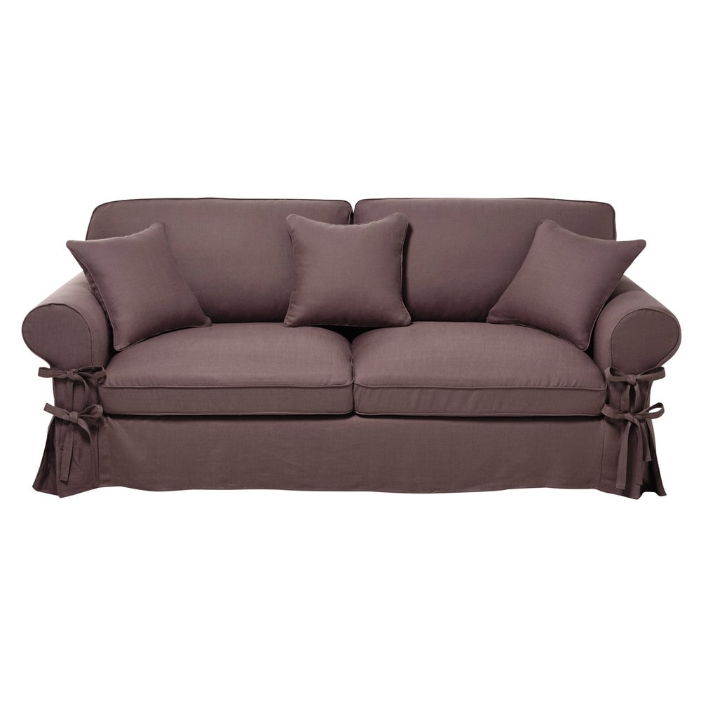 3 4 seater linen sofa bed in mauve butterfly maisons du for Sofa bed 4 6